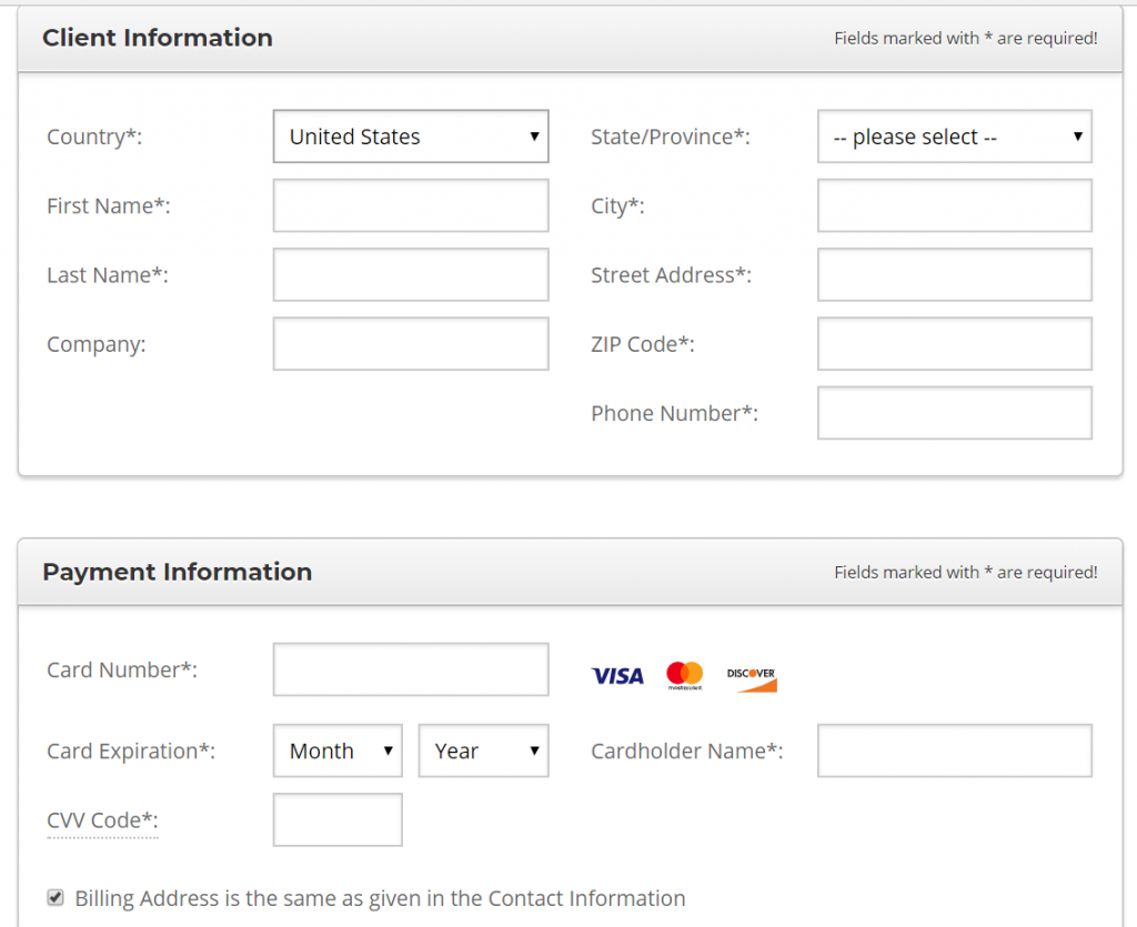 Payment details for SiteGround hosting