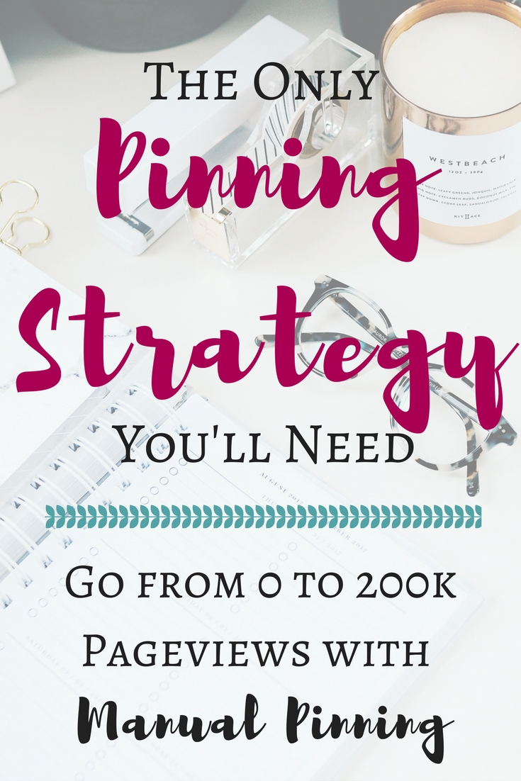 The only pinning strategy you'll need! Learn how Carly went from 0 to 200k pageviews by using manual pinning on Pinterest.